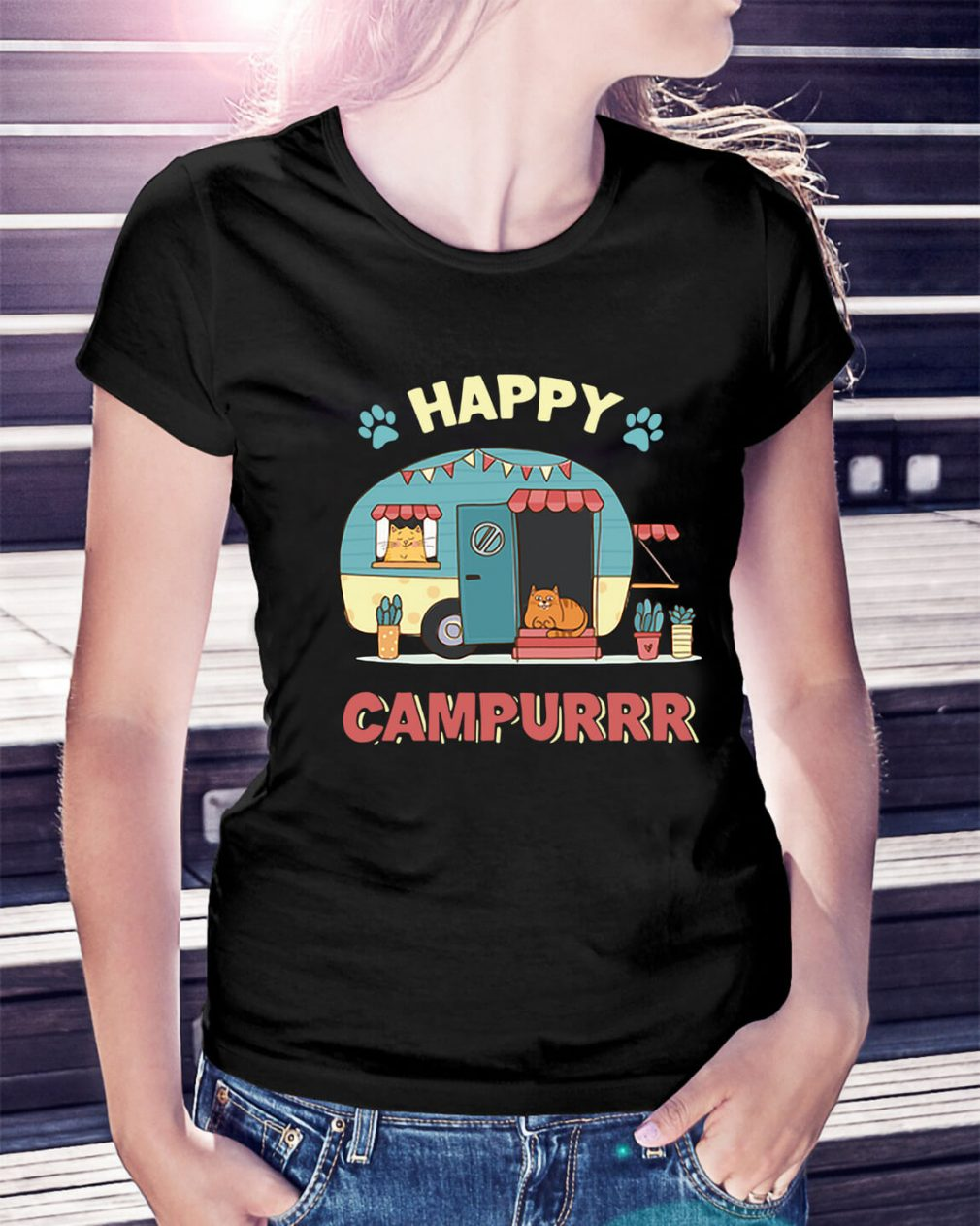 Camper cat happy campurrr Ladies Tee