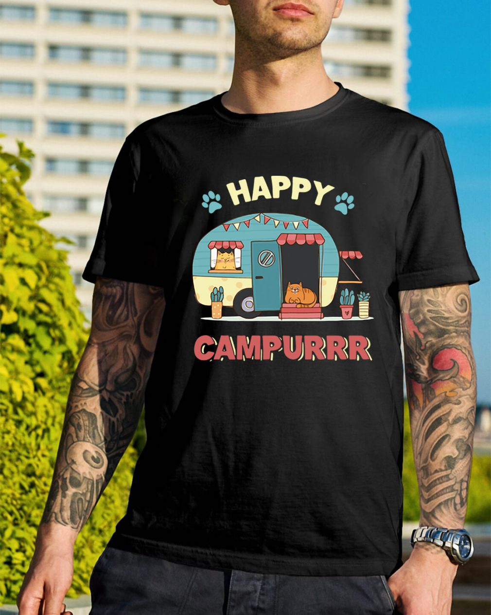 Camper cat happy campurrr shirt