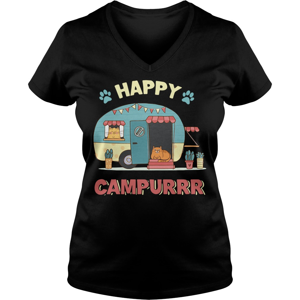 Camper cat happy campurrr V-neck T-shirt