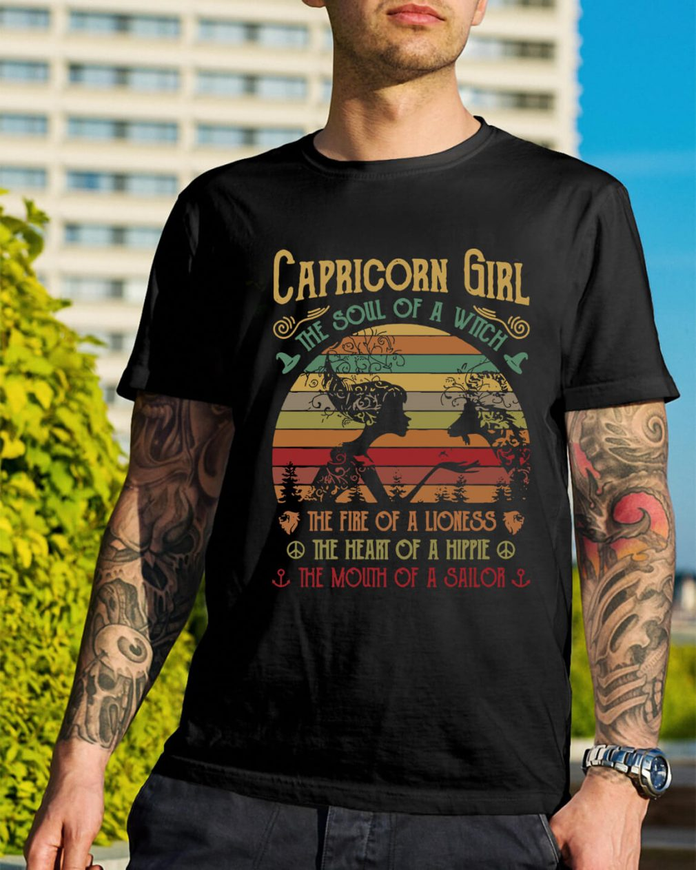 Capricorn girl the soul of a witch the fire of a lioness the heart shirt