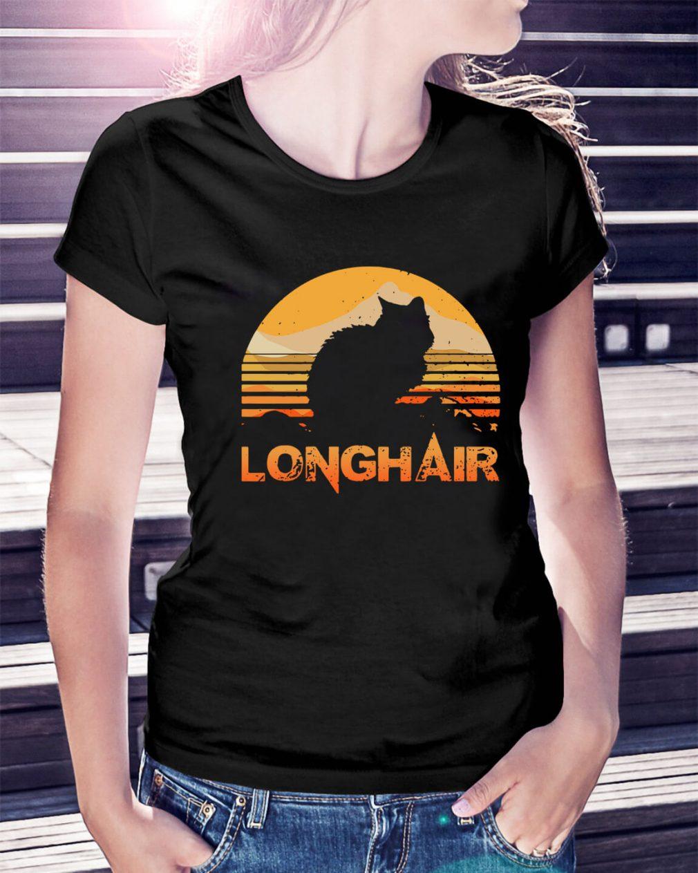 Cat longhair sunset retro Ladies Tee