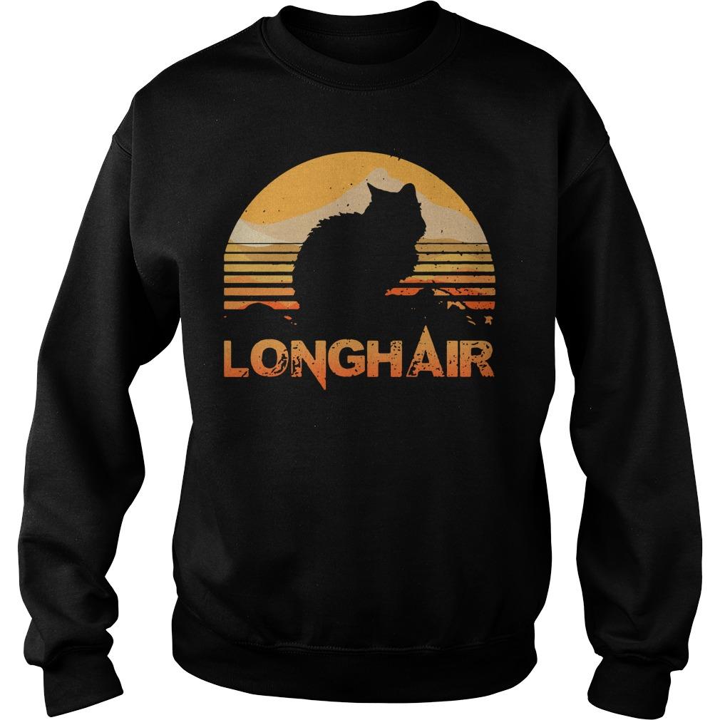 Cat longhair sunset retro Sweater