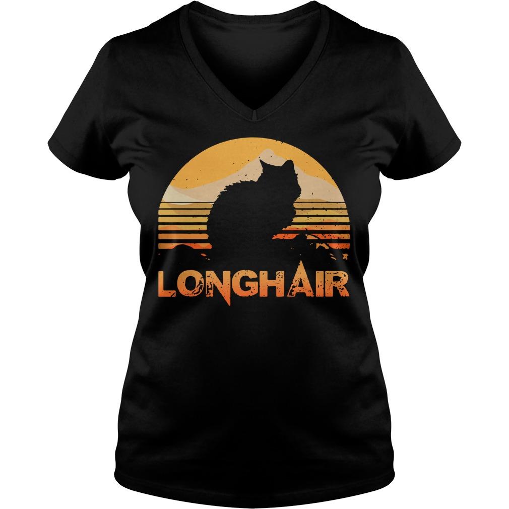 Cat longhair sunset retro V-neck T-shirt