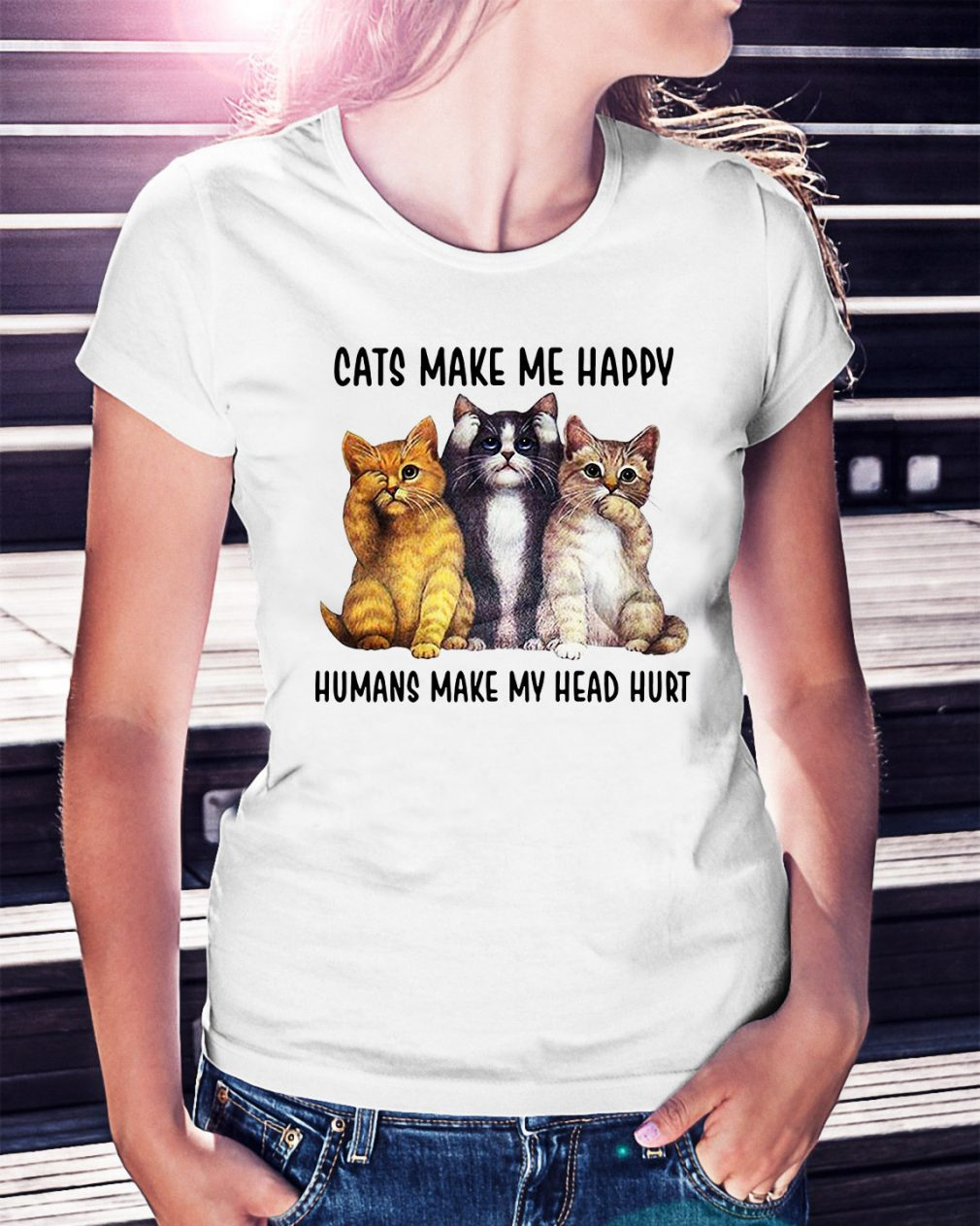 Cats make me happy humans make my head hurt Ladies Tee