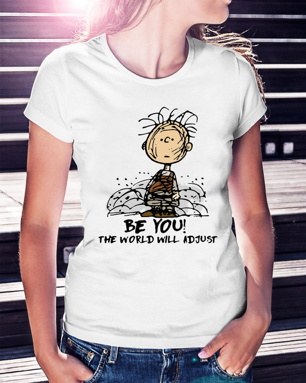 Charlie Brown be you the world will adjust Ladies Tee