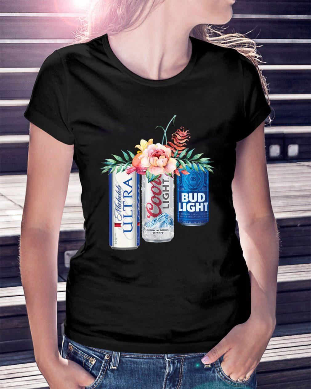 Coors Light Bud Light Michelob Ultra beer Ladies Tee