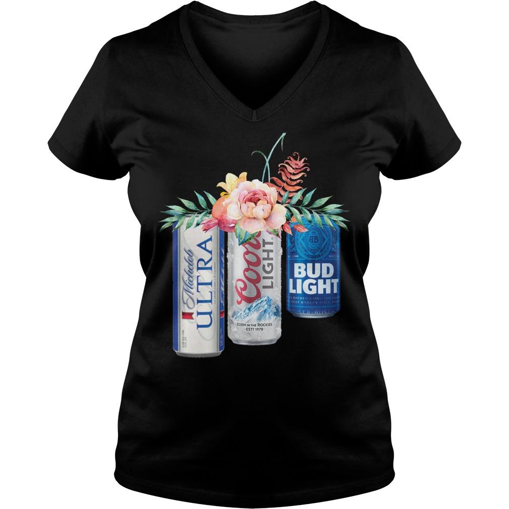 Coors Light Bud Light Michelob Ultra beer V-neck T-shirt