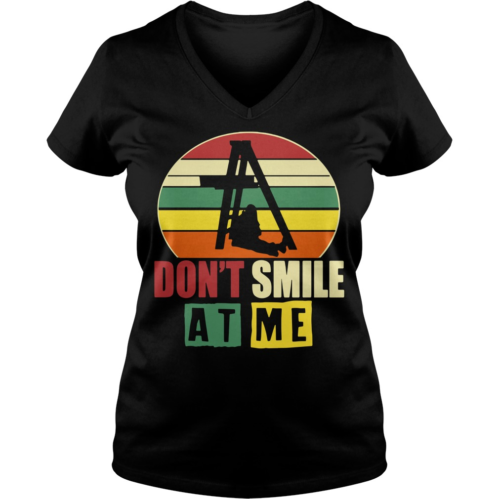 Don't smile at me sunset retro V-neck T-shirt