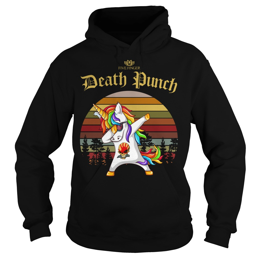 Five Finger Death Punch Unicorn dabbing sunset retro Hoodie
