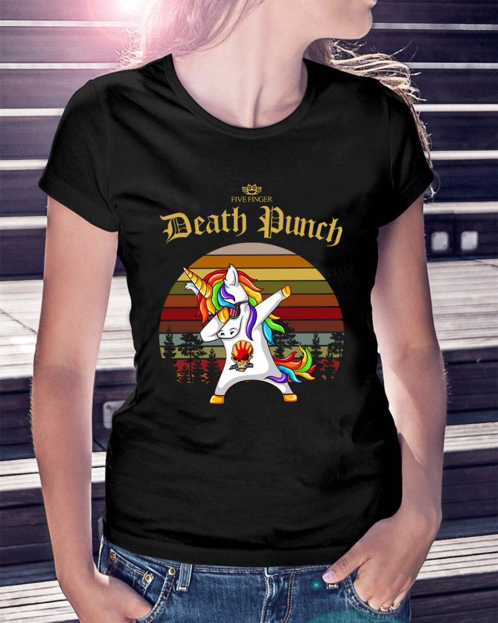 Five Finger Death Punch Unicorn dabbing sunset retro Ladies Tee