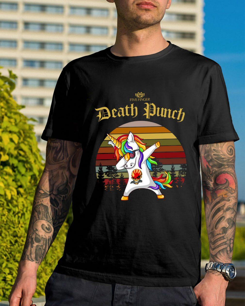 Five Finger Death Punch Unicorn dabbing sunset retro shirt