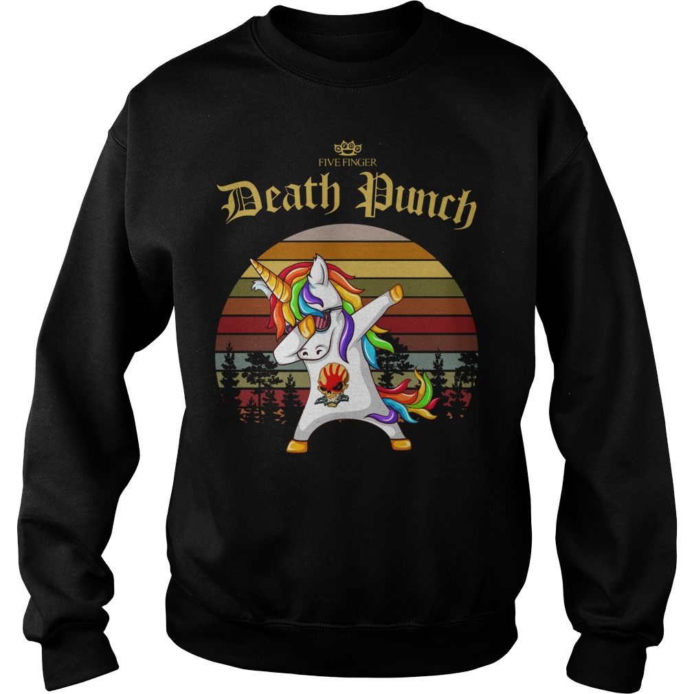 Five Finger Death Punch Unicorn dabbing sunset retro Sweater