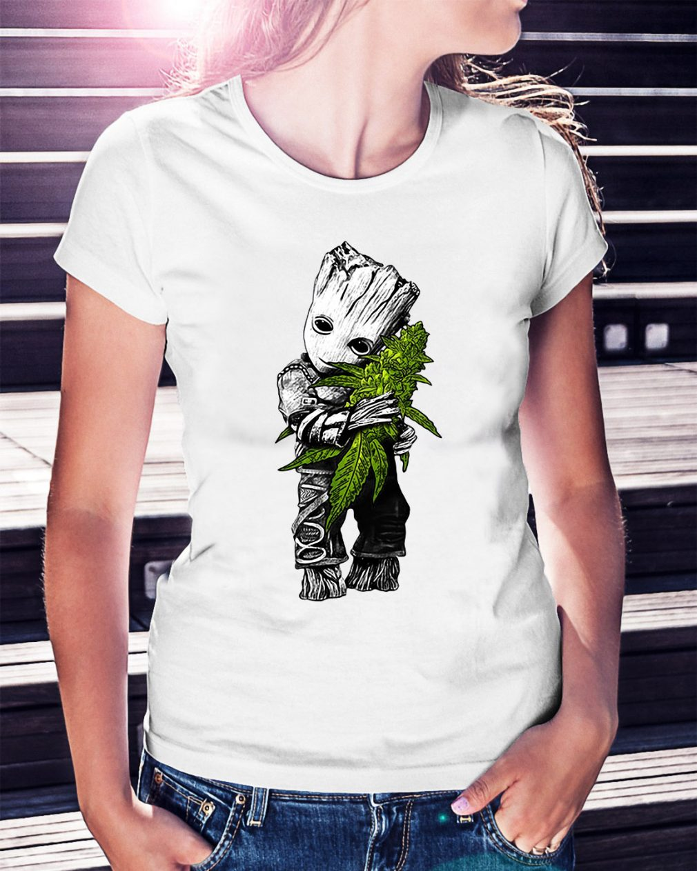 Groot hug weed Ladies Tee