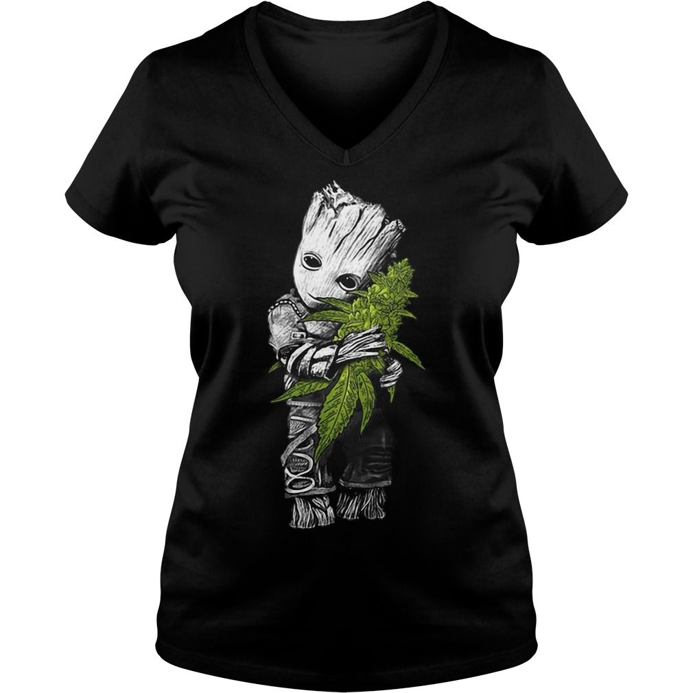 Groot hug weed V-neck T-shirt