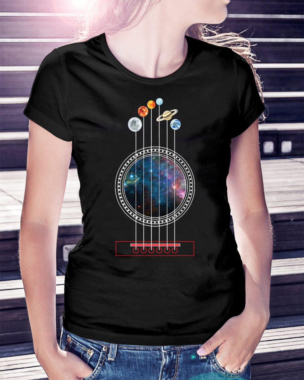 Guitarist guitar universe planete Ladies Tee