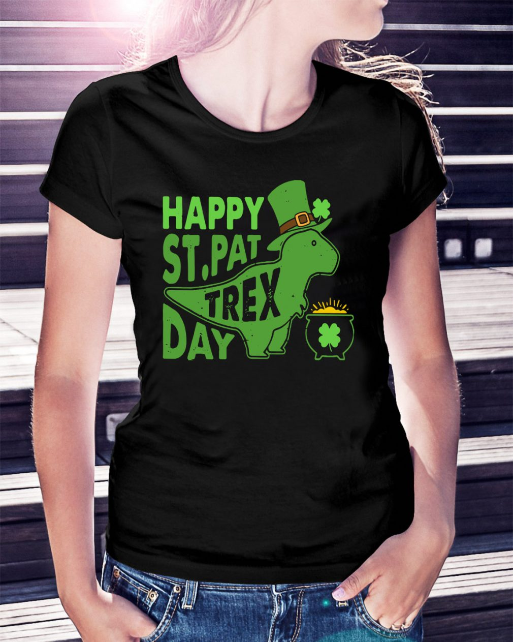 Happy St Pat t-rex day Ladies Tee