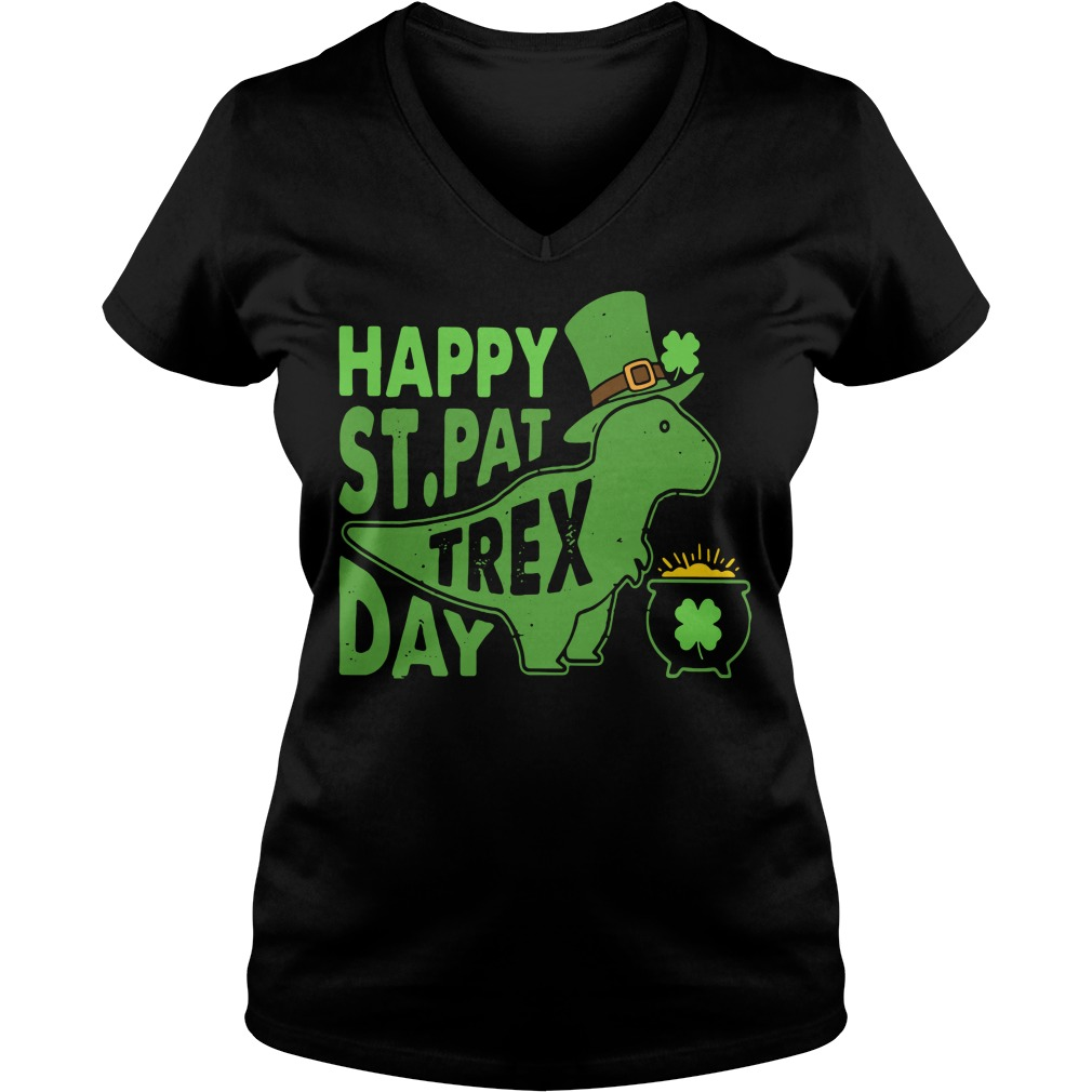 Happy St Pat t-rex day V-neck T-shirt