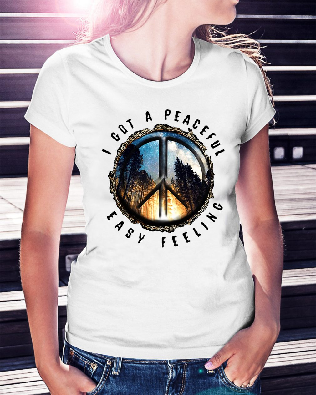 Hippie earth I got a peaceful easy feeling Ladies Tee