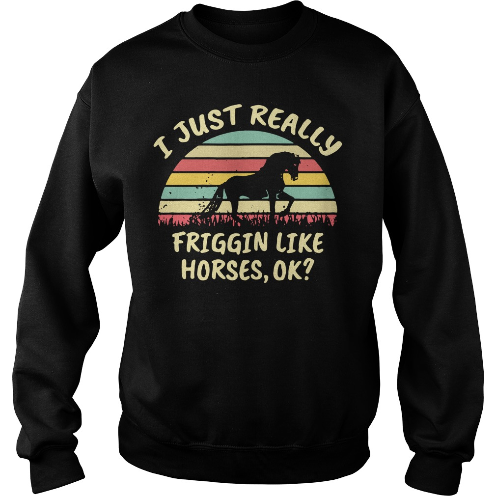 I just really friggin like horses ok sunset retro Sweater