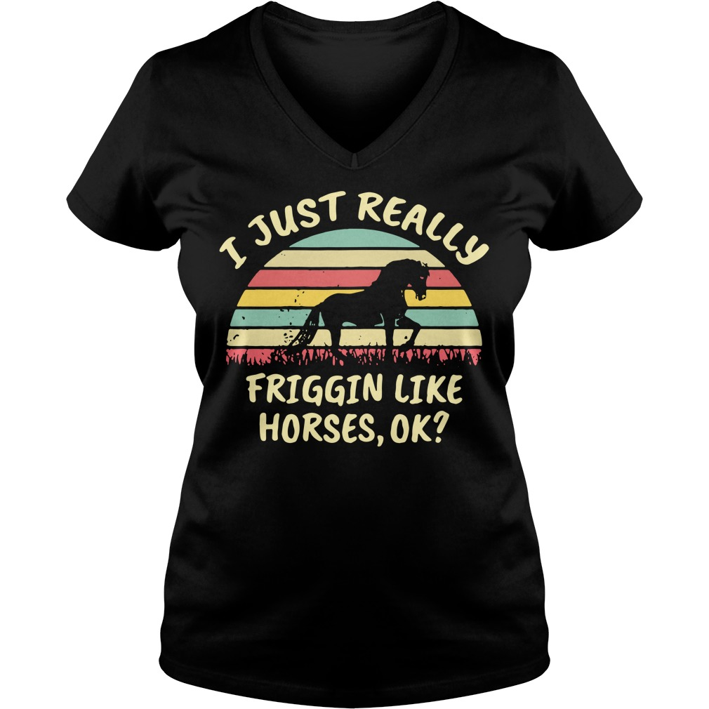 I just really friggin like horses ok sunset retro V-neck T-shirt
