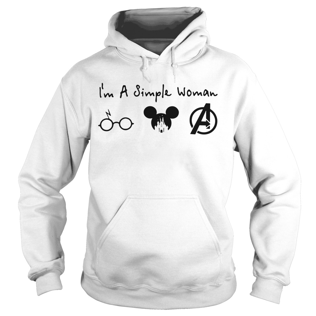 I'm a simple woman I like Harry Potter Mickey Mouse and Avengers Hoodie