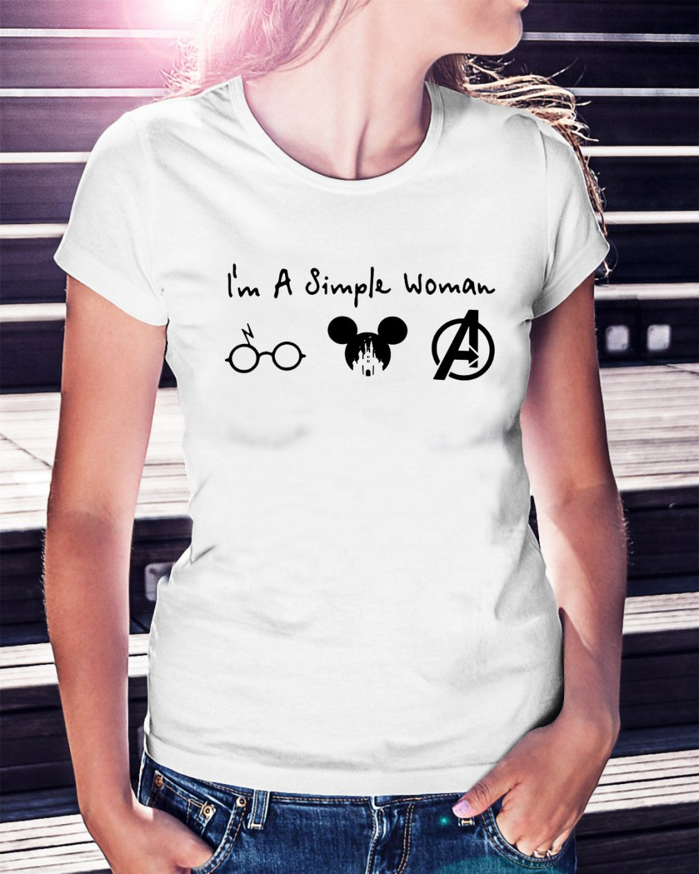 I'm a simple woman I like Harry Potter Mickey Mouse and Avengers Ladies Tee
