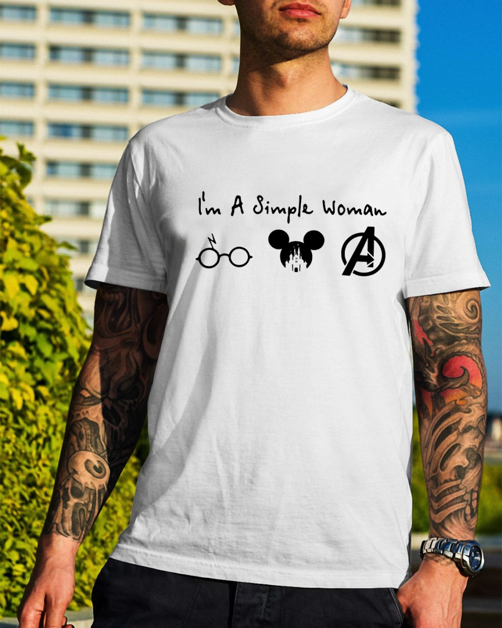 I'm a simple woman I like Harry Potter Mickey Mouse and Avengers shirt