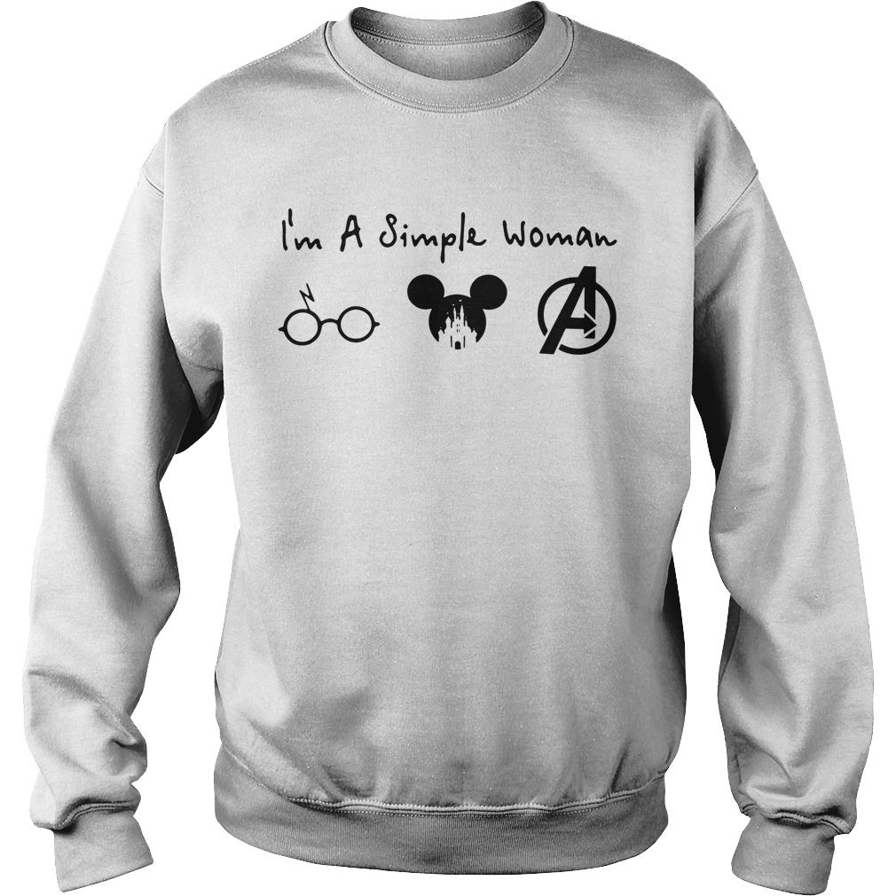 I'm a simple woman I like Harry Potter Mickey Mouse and Avengers Sweater