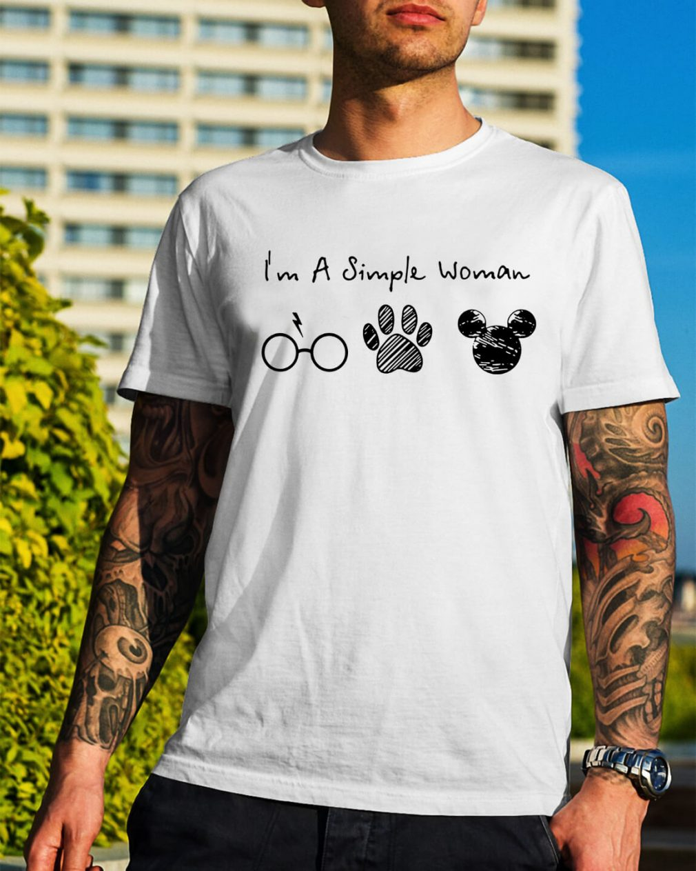 I'm a simple woman I like Harry Potter paw dog and Mickey Mouse shirt