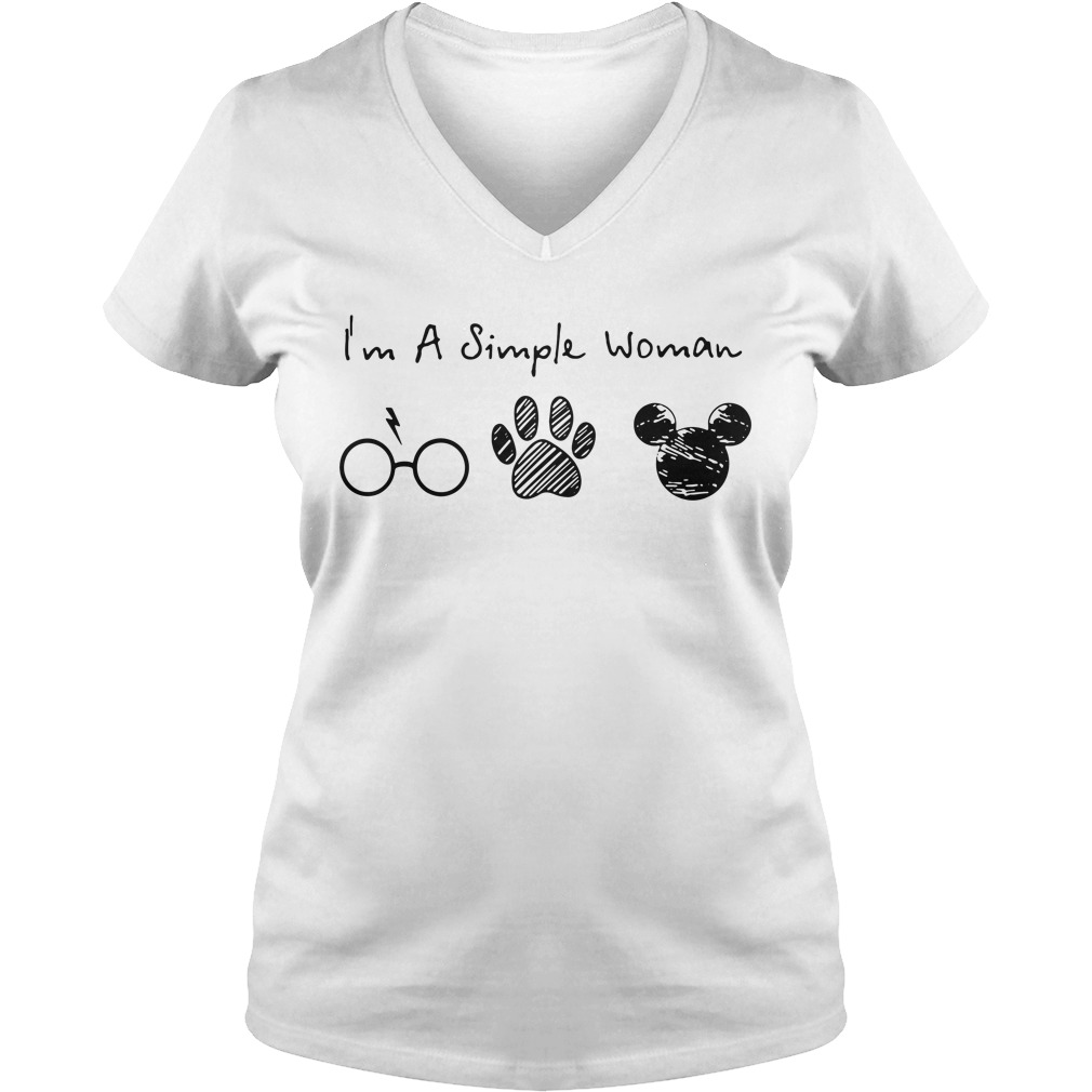 I'm a simple woman I like Harry Potter paw dog and Mickey Mouse V-neck T-shirt