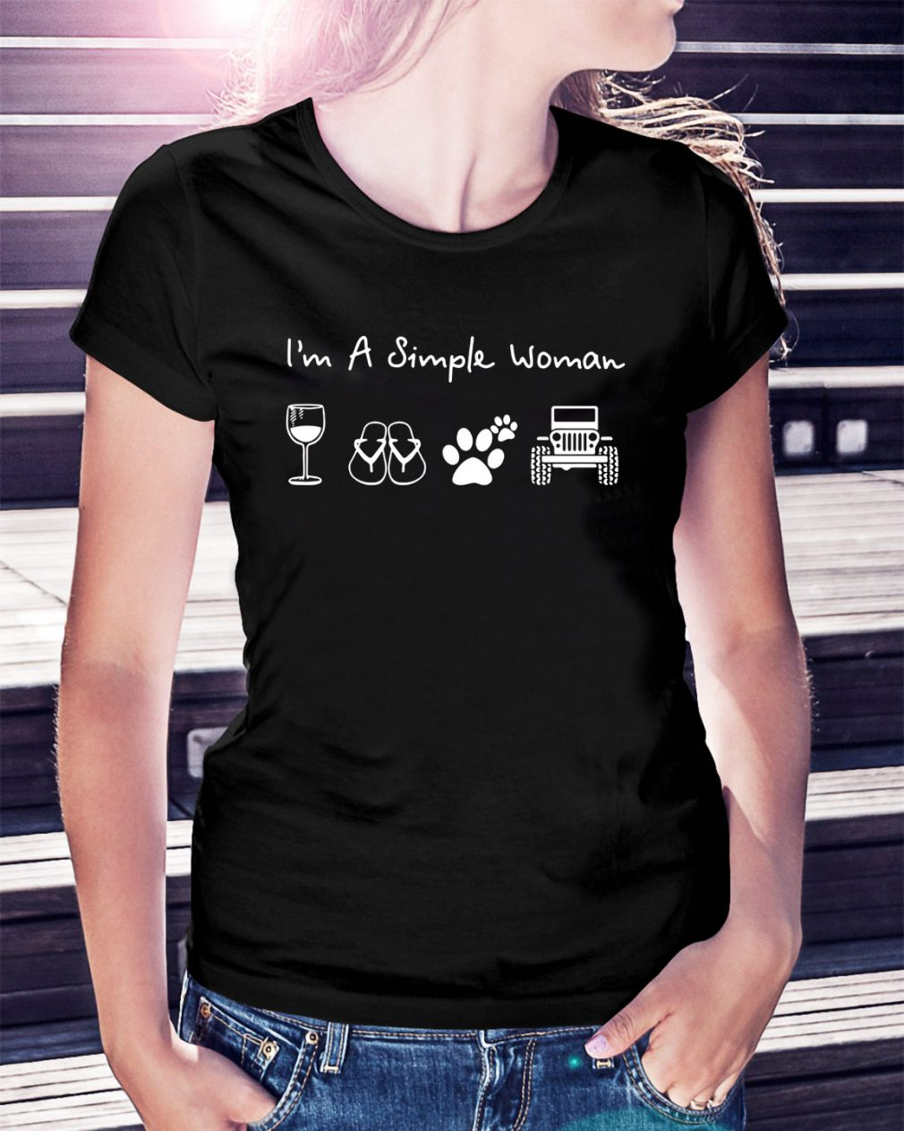 I'm a simple woman I like wine flip flop dog paw and jeep Ladies Tee