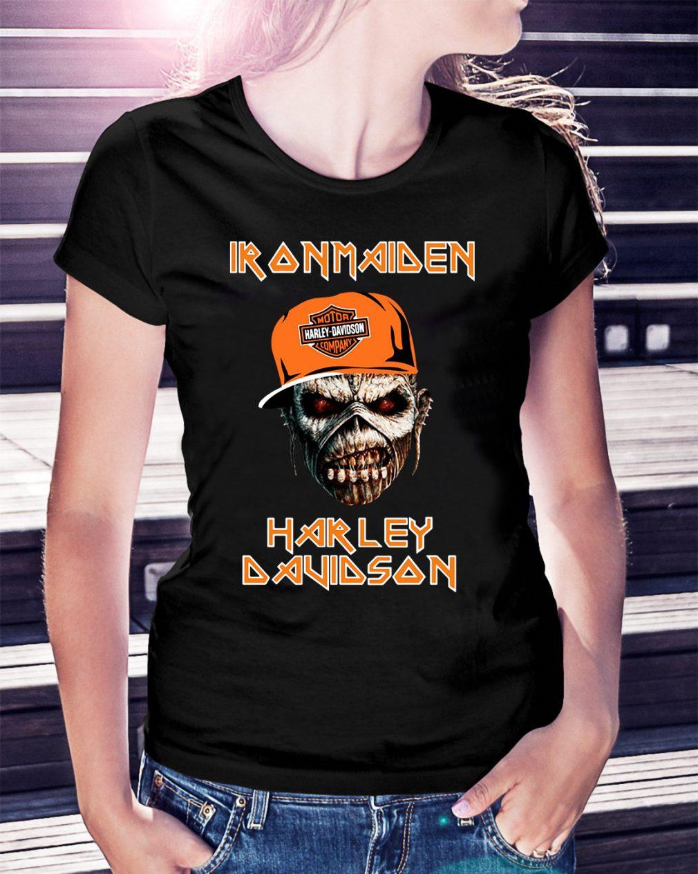 Iron maiden Harley Davidson skull Ladies Tee