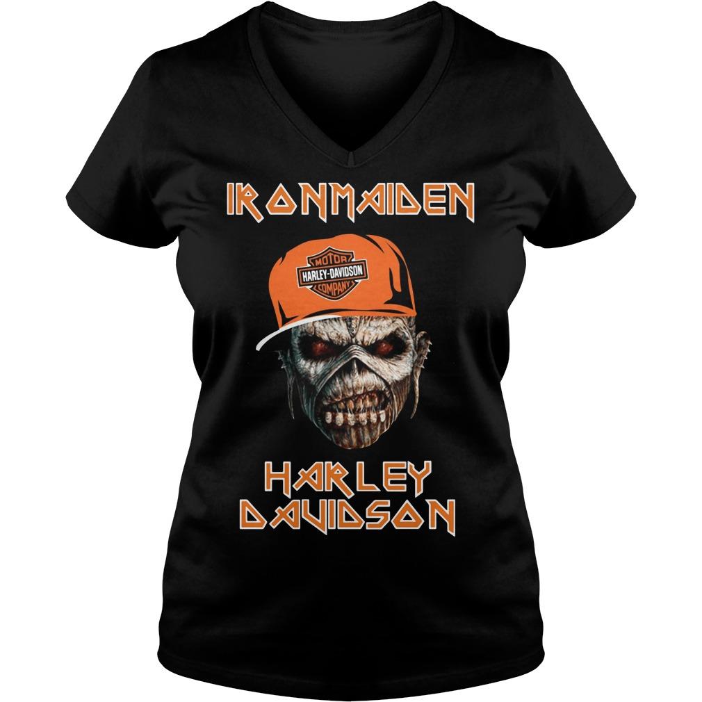 Iron maiden Harley Davidson skull V-neck T-shirt