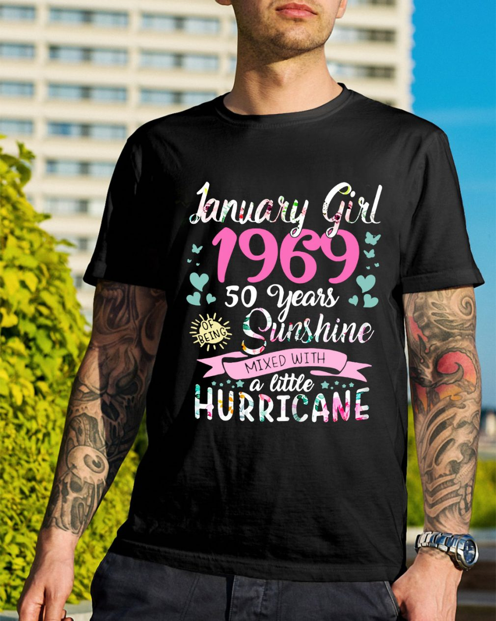 January girl 1969 50 years sunshine mixed with a little hurricane shirt