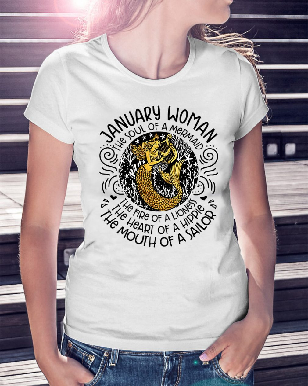January woman the soul of a mermaid the fire of a lioness Ladies Tee