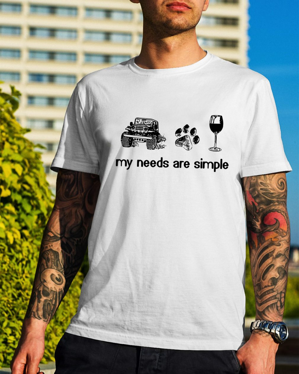 Jeep dog paw and wine my needs are simple shirt