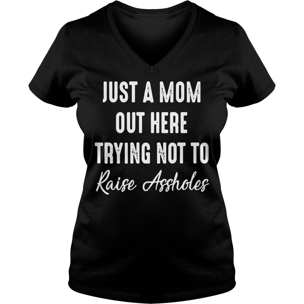 Just a mom out here trying not to raise assholes V-neck T-shirt