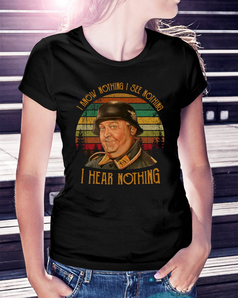 I know nothing I see nothing I hear nothing vintage Ladies Tee