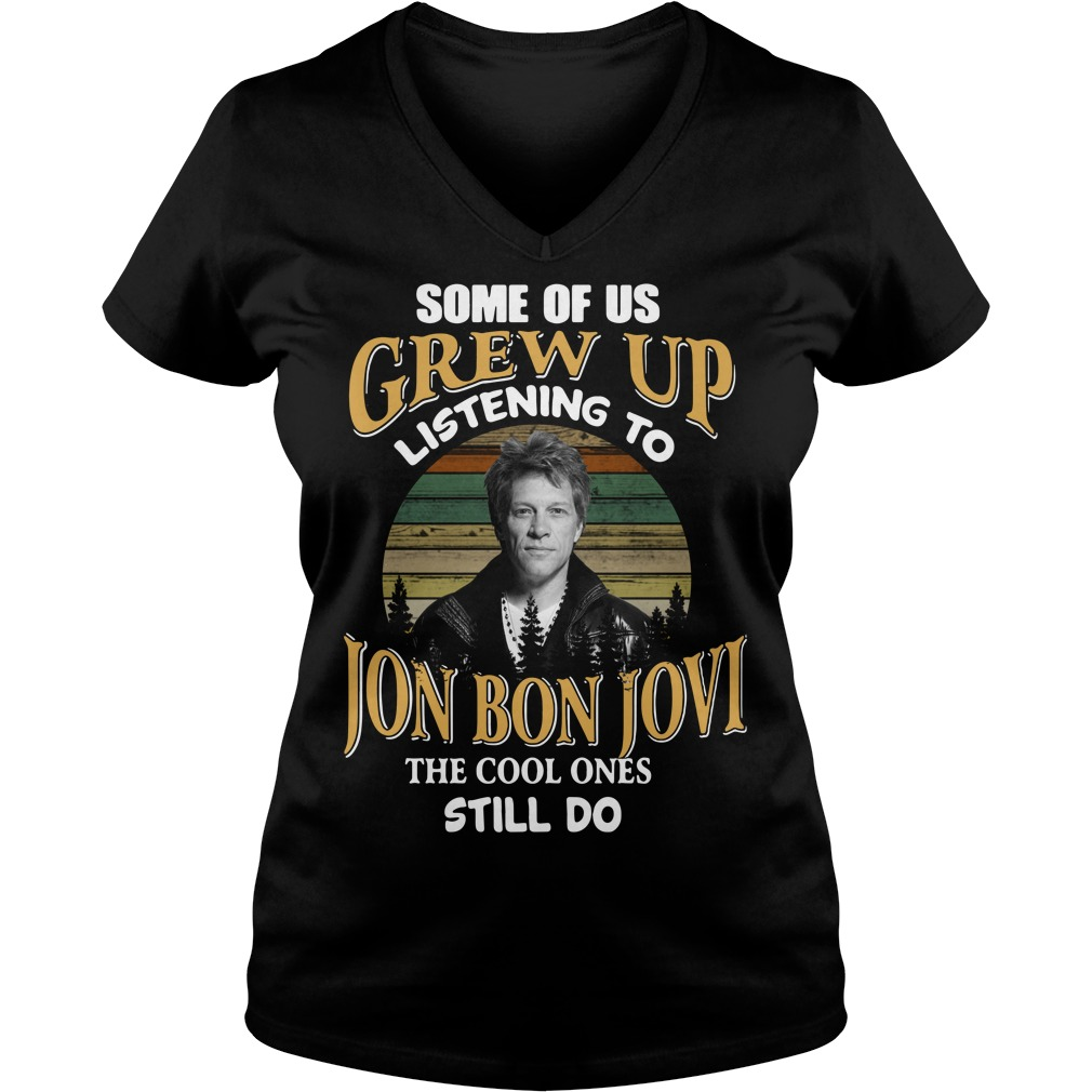 Listening to the Jon Bon Jovi the cool ones still do sunset retro V-neck T-shirt