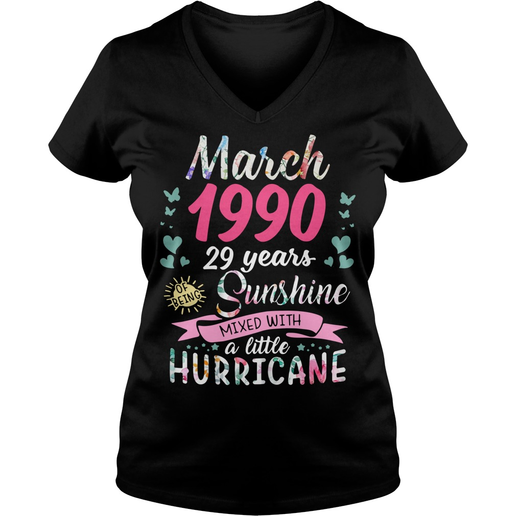 March 1990 29 years sunshine mixed with a little hurricane V-neck T-shirt