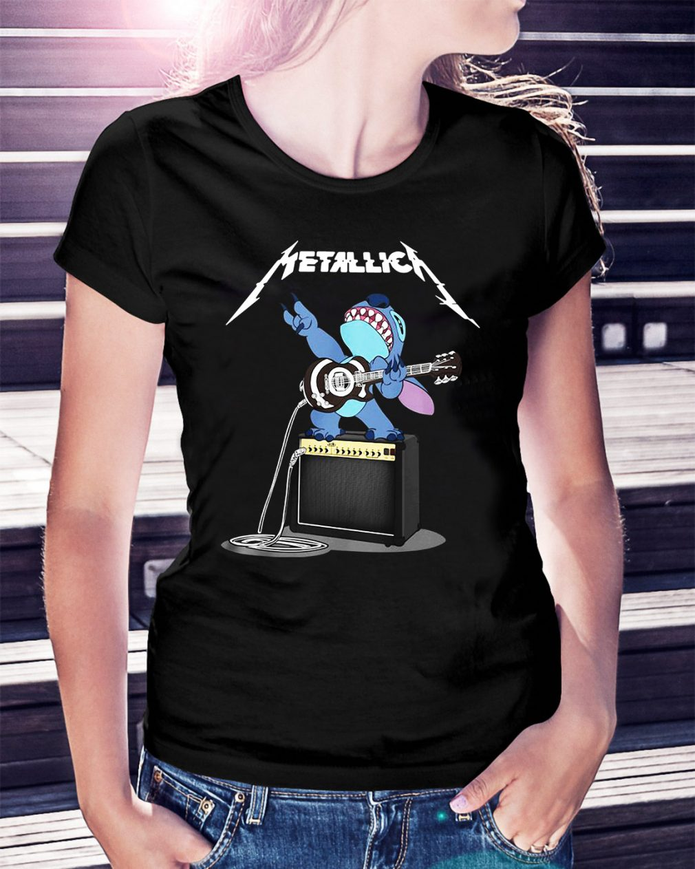 Metallica Stitch play guitar Ladies Tee