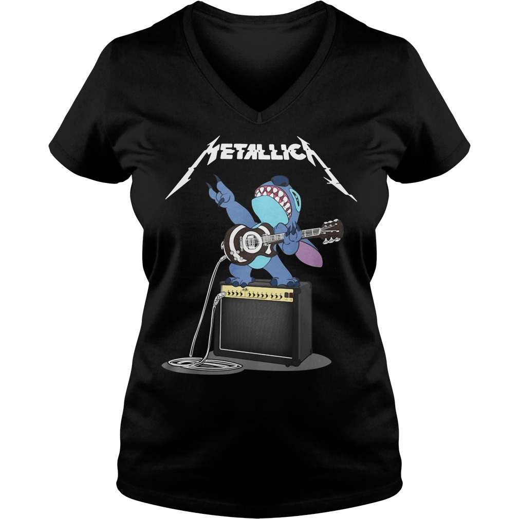 Metallica Stitch play guitar V-neck T-shirt
