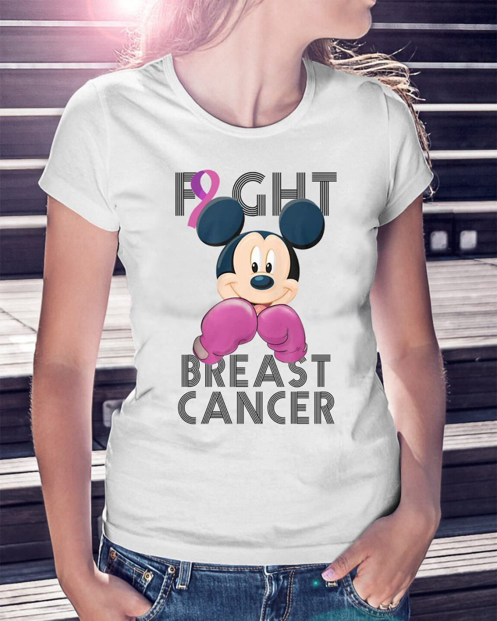Mickey Mouse fight breast cancer awareness Ladies Tee