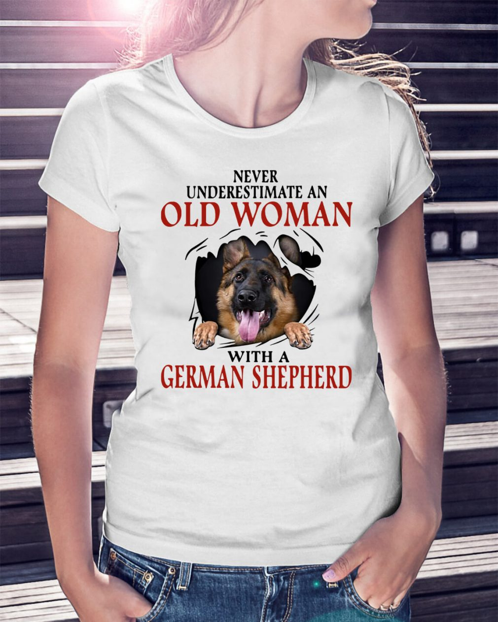 Never underestimate an old woman with a German Shepherd Ladies Tee