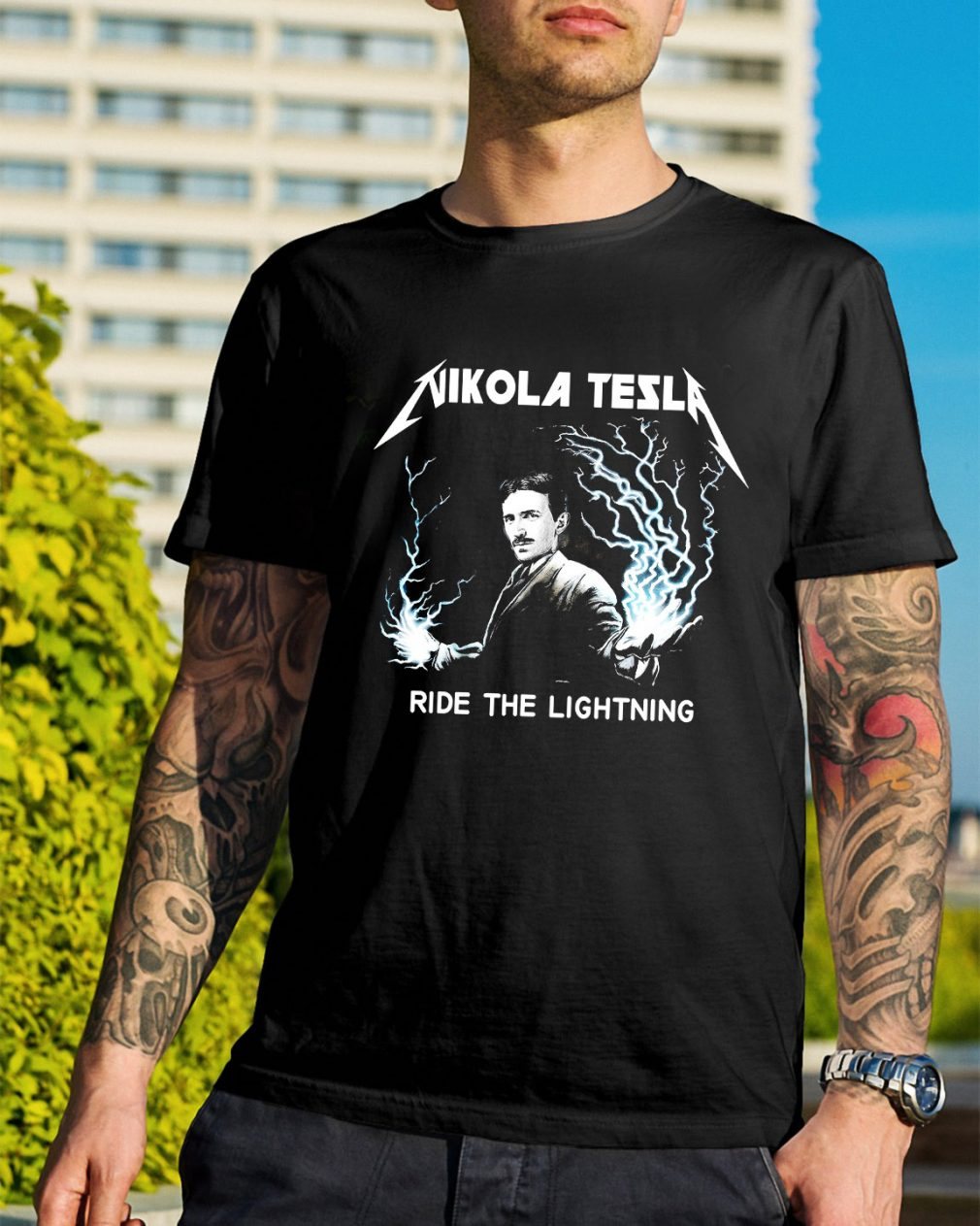 Nikola Tesla ride the lightning shirt