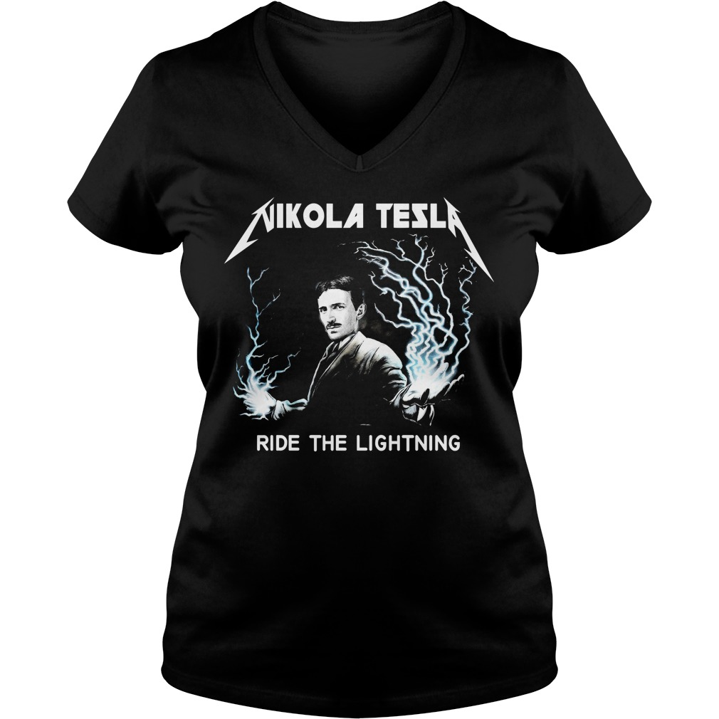 Nikola Tesla ride the lightning V-neck T-shirt