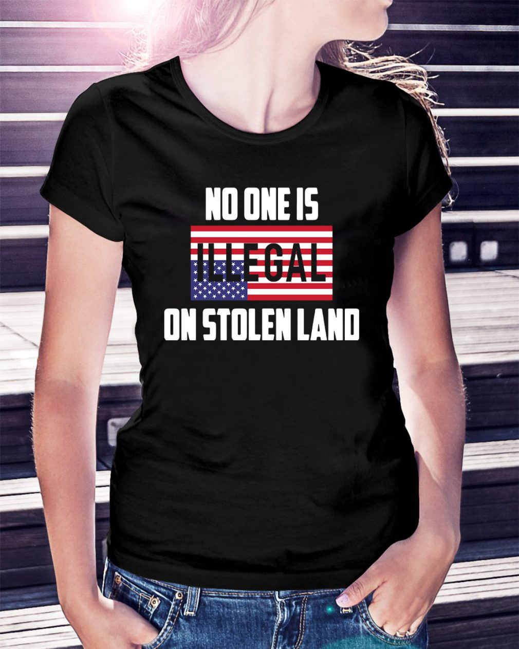 No one is Illegal on stolen land Ladies Tee