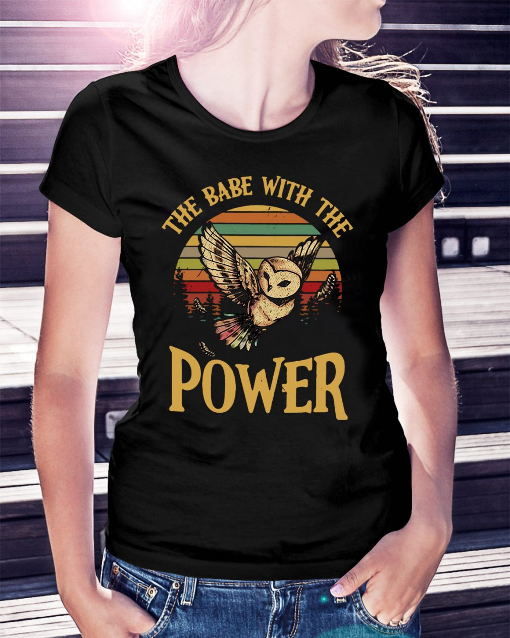 Owl the babe with the power sunset retro Ladies Tee