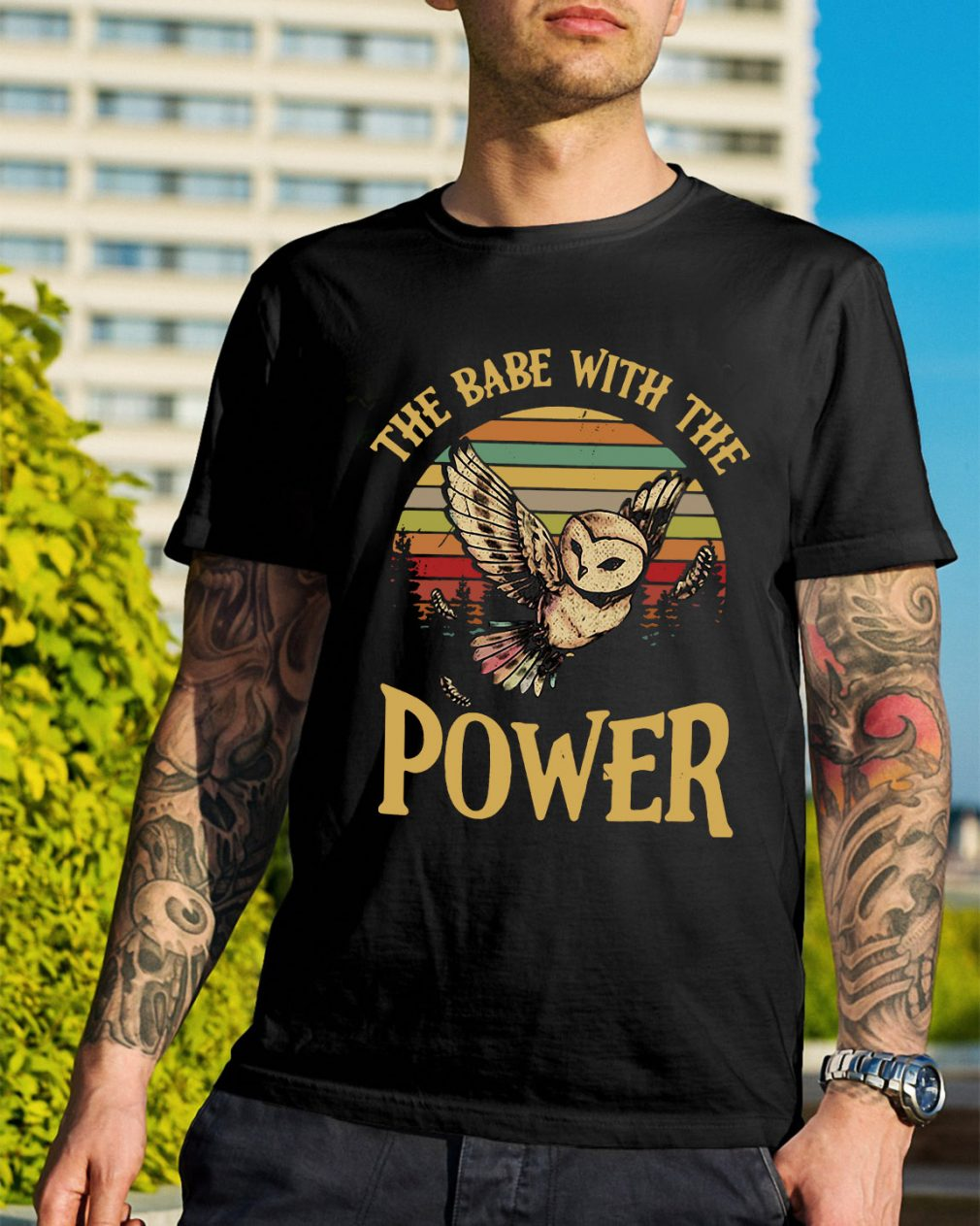 Owl the babe with the power sunset retro shirt