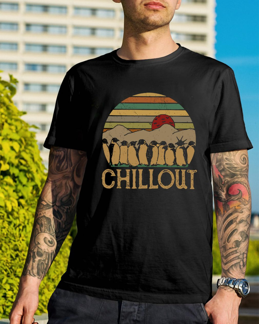 Penguin chillout sunset retro shirt